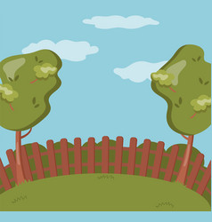wooden fence on the backyard green garden with vector image vector image