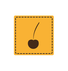Yellow emblem cherry icon vector