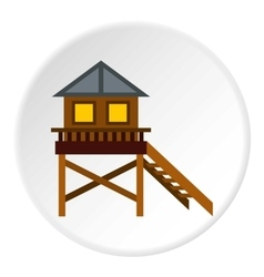 Rescue booth on beach icon flat style vector
