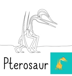 Coloring page for kids with pterosaur vector