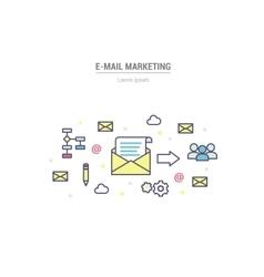 E-mail marketing - outline vector