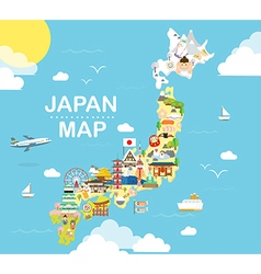 Japan travel map in flat vector
