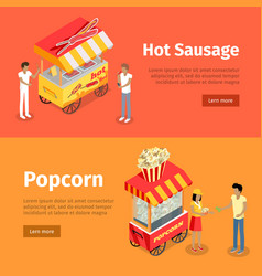 Hot sausage and popcorn mobile umbrella carts vector