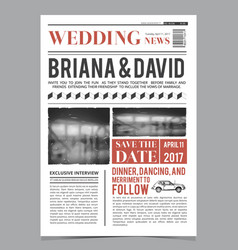Wedding invitation on newspaper front page design vector
