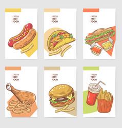 Fresh fast food hand drawn cards brochure menu vector