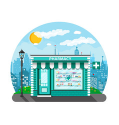 Modern exterior pharmacy or drugstore vector