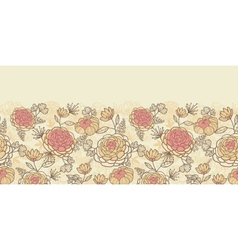 Vintage brown pink flowers horizontal seamless vector