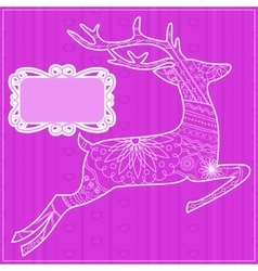 Pink background with deer vector image