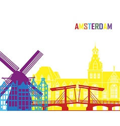 Amsterdam skyline pop vector