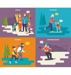 Family with kids concept flat icons set of winter vector