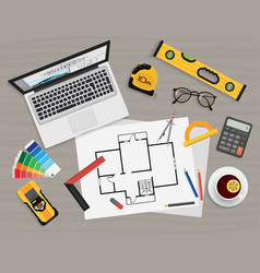 Architect construction planning and creating vector