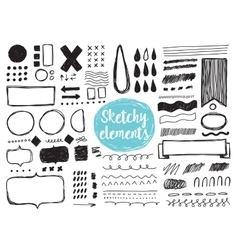 Set of hand drawn sketchy elements brush strokes vector