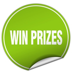 Win prizes round green sticker isolated on white vector