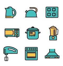 Flat line kitchen and cooking icons set vector