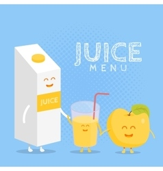 Funny cute apple juice packaging and glass drawn vector