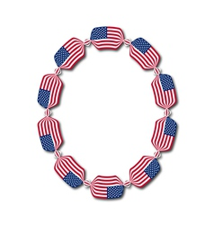 Letter O made of USA flags in form of candies vector image