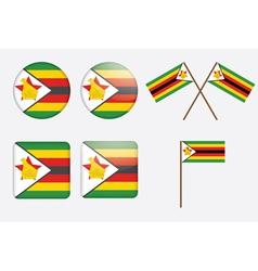 badges with flag of Zimbabwe vector image vector image