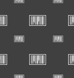 Barcode icon sign seamless pattern on a gray vector