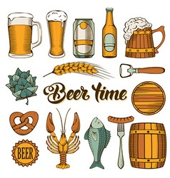 Beer and snack set vector image
