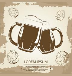 beer mugs and hops vintage poster for beer shop vector image vector image