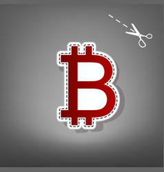 Bitcoin sign red icon with for applique vector