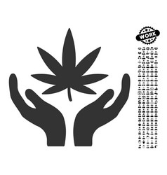 cannabis care icon with people bonus vector image vector image