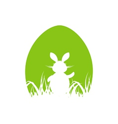 Cartoon Easter poster with rabbit and grass vector image