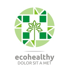 Ecohealthy leaves go green design vector