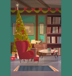 empty armchair near decorated pine tree home vector image vector image