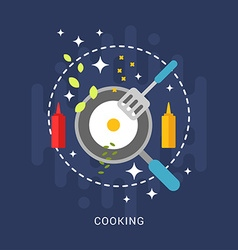 Flat Style with Kitchen Appliances and Food Fried vector image vector image