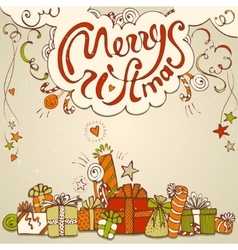 Gift box collection with merry christmas lettering vector image vector image