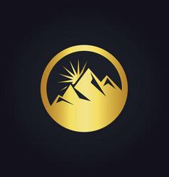 Gold mountain abstract icon logo vector