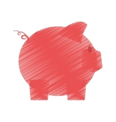 Hand draw piggy money safety bank color vector