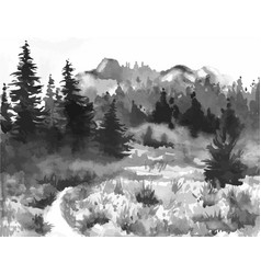 Hand drawn watercolor painting of forest landscape vector