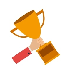 Hand with trophy award vector