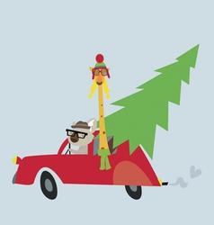Holiday with koala and giraffe vector image vector image