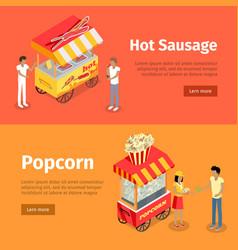 hot sausage and popcorn mobile umbrella carts vector image vector image