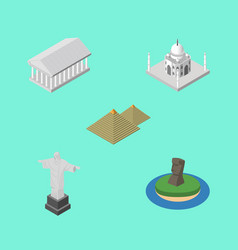 Isometric travel set of egypt rio chile and vector