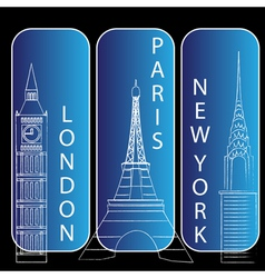 London new york and Paris vector image