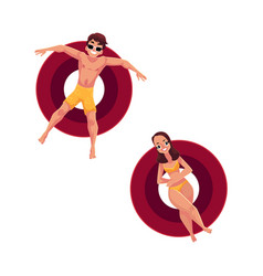 man in sunglasses and woman wearing bikini on vector image