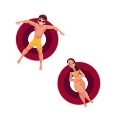 Man in sunglasses and woman wearing bikini on vector
