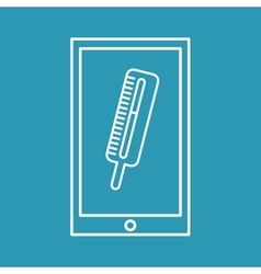 Mobile phone medical thermometer design vector