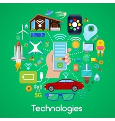 Modern technologies icons set with smart house vector