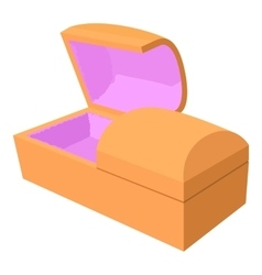 Opened coffin icon cartoon style vector