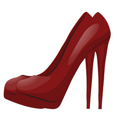pair of red shoes with high heels isolated vector image