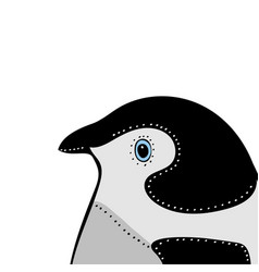 Penguin cute animal head funny cartoo vector