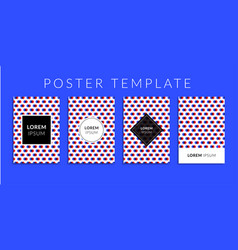 Poster set with red-blue color circle pattern vector