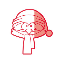 Red silhouette of penguin face with scarf and vector