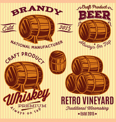 set of templates with colored barrels for vector image vector image