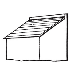 Shed roof more storage vintage engraving vector